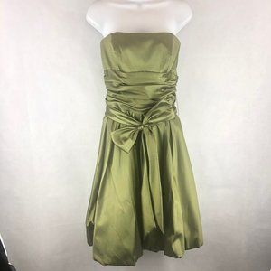 David's Bridal 8 Green Satin Prom Ball Gown